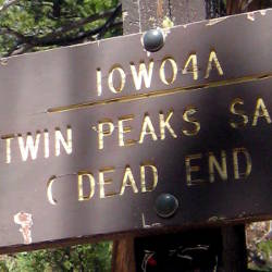 Sign: Twin Peaks Saddle