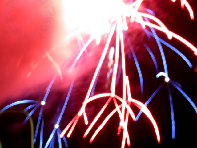 fireworks: red and blue claws