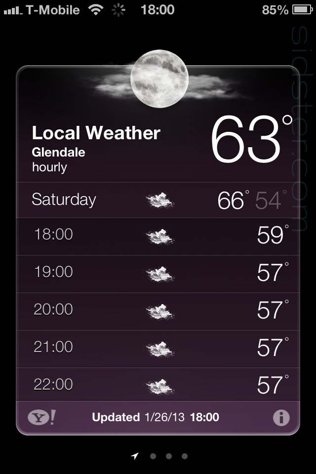 iPhone 4 Weather App showing 18:00 - 22:00 1/26/13