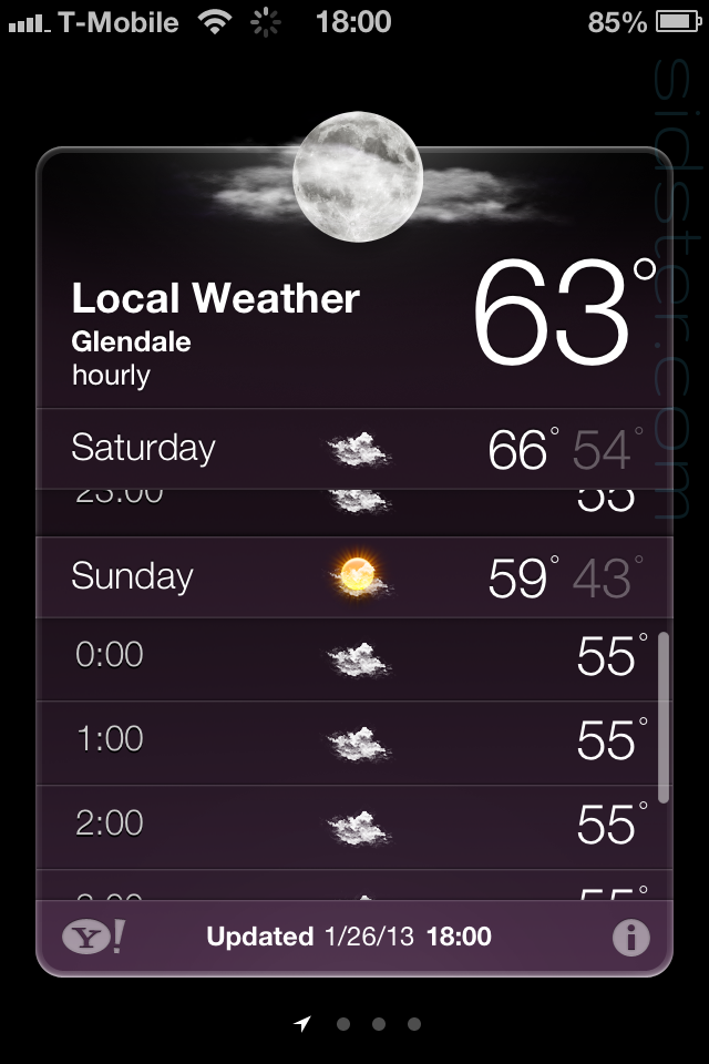 iPhone 4 Weather App showing 23:00 Saturday - Sunday